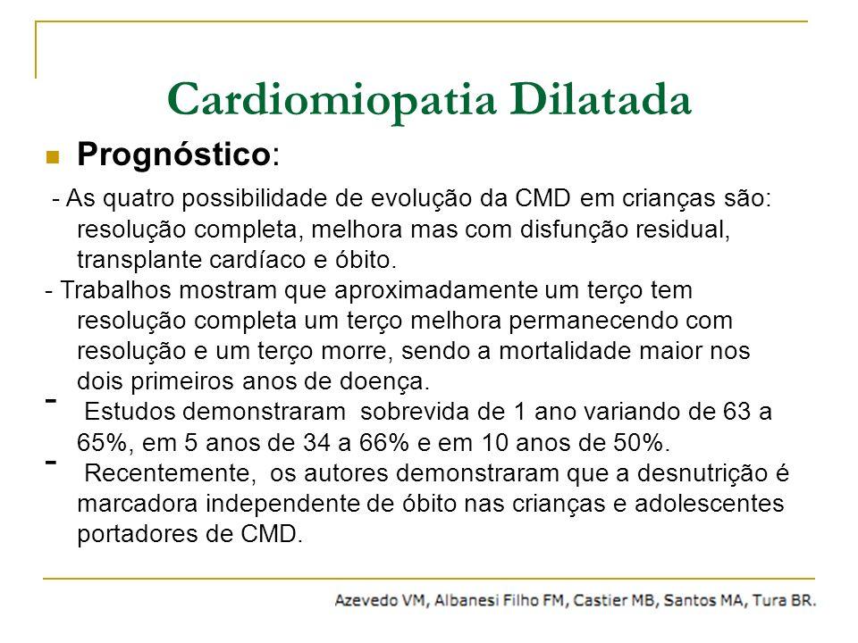 Prognóstico: - As quatro possibilidade de evolução da CMD em crianças são: resolução completa, melhora mas com disfunção residual, transplante cardíac