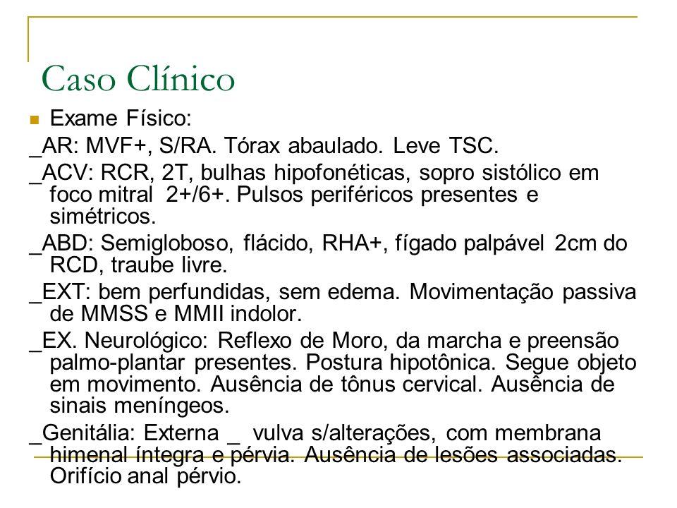 Caso Clínico Exame Físico: _AR: MVF+, S/RA. Tórax abaulado. Leve TSC. _ACV: RCR, 2T, bulhas hipofonéticas, sopro sistólico em foco mitral 2+/6+. Pulso
