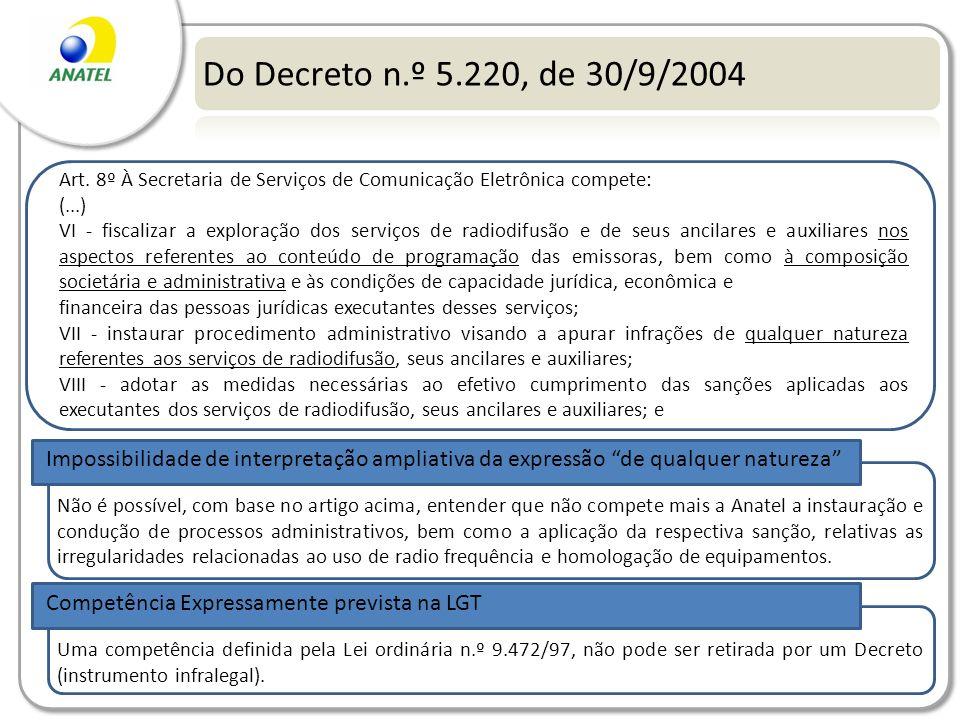 Do Decreto n.º 5.220, de 30/9/2004 Art. 8º À Secretaria de Serviços de Comunicação Eletrônica compete: (...) VI - fiscalizar a exploração dos serviços