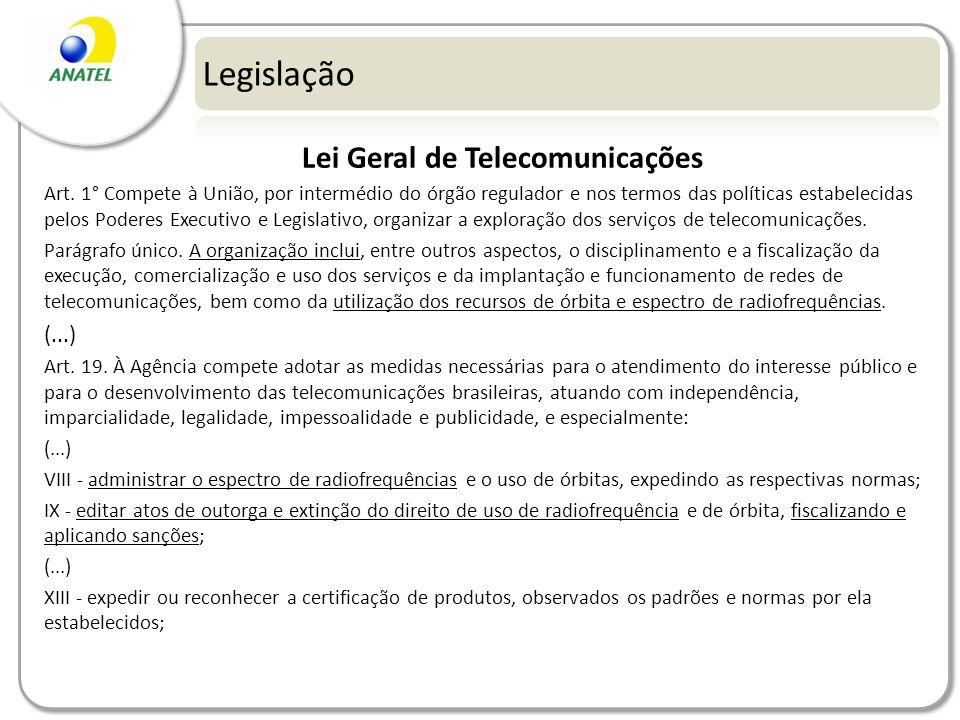 Legislação Lei Geral de Telecomunicações Art. 1° Compete à União, por intermédio do órgão regulador e nos termos das políticas estabelecidas pelos Pod
