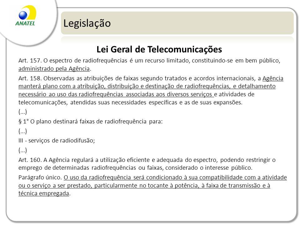 Legislação Lei Geral de Telecomunicações Art. 157. O espectro de radiofrequências é um recurso limitado, constituindo-se em bem público, administrado
