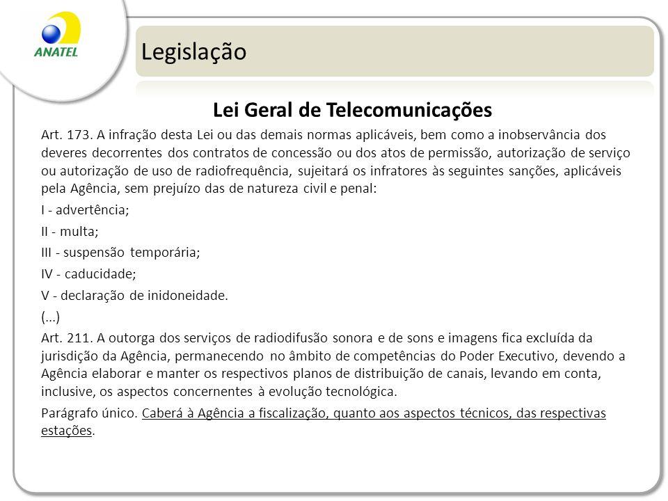 Legislação Lei Geral de Telecomunicações Art. 173. A infração desta Lei ou das demais normas aplicáveis, bem como a inobservância dos deveres decorren