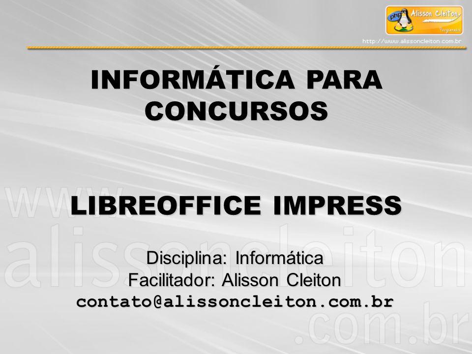 Na operação do LibreOffice Impress 3, a tecla de atalhos para apresentação dos Slides: A) F1 B) F2 C) F3 D) F4 E) F5 Exercício: Módulo VI – LibreOffice Impress