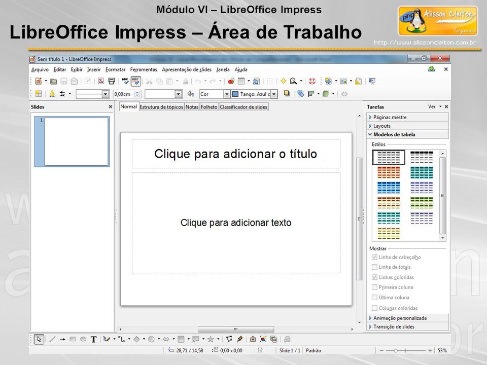 LibreOffice Impress Expandir slide Cria um novo slide a partir de cada ponto superior da estrutura de tópicos (o texto que está um nível abaixo do título na hierarquia da estrutura de tópicos) no slide selecionado Inserir Barra de Menu Módulo VI – LibreOffice Impress