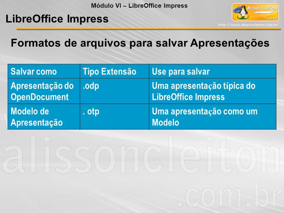 Formatos de arquivos para salvar Apresentações LibreOffice Impress Salvar comoTipo ExtensãoUse para salvar Apresentação do OpenDocument.odpUma apresen