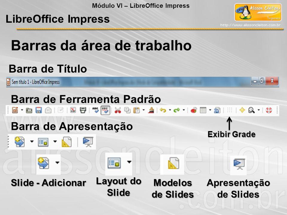 Barras da área de trabalho LibreOffice Impress Exibir Grade Módulo VI – LibreOffice Impress Barra de Título Barra de Ferramenta Padrão Barra de Aprese
