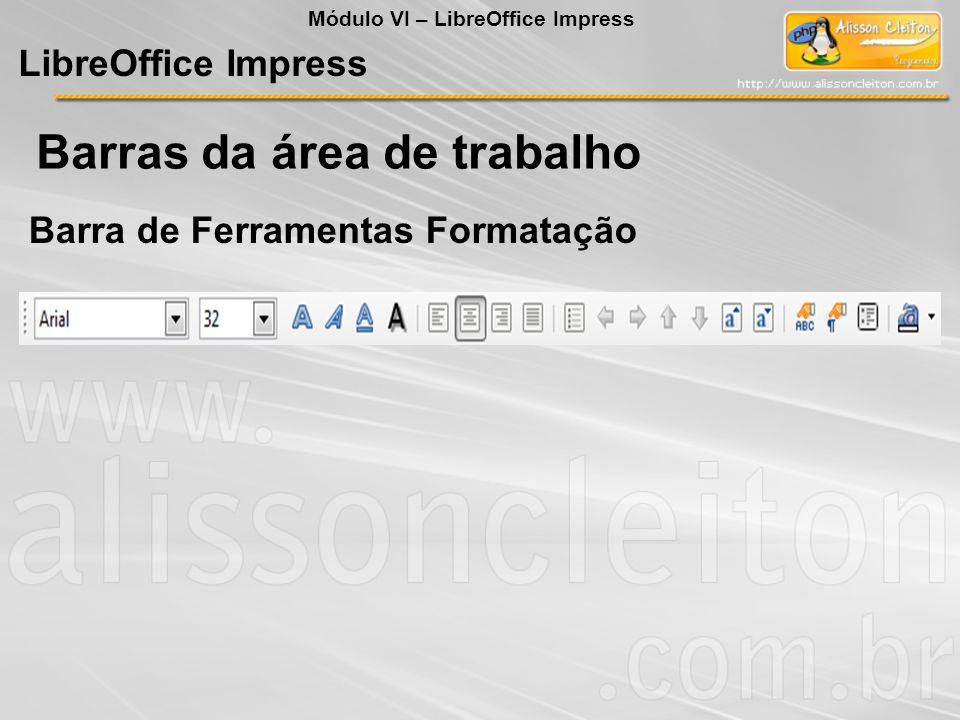 LibreOffice Impress Todas as opções deste menu já falamos no LibreOffice Writer Arquivo Barra de Menu Módulo VI – LibreOffice Impress