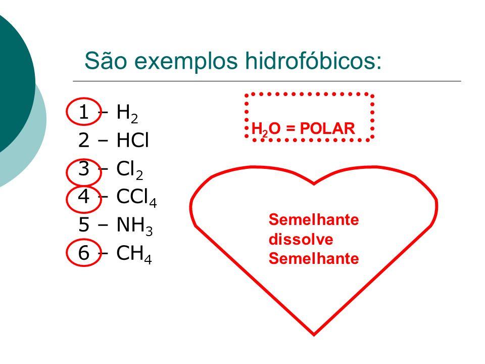 São exemplos hidrofóbicos: 1 – H 2 2 – HCl 3 – Cl 2 4 – CCl 4 5 – NH 3 6 – CH 4 Semelhante dissolve Semelhante H 2 O = POLAR