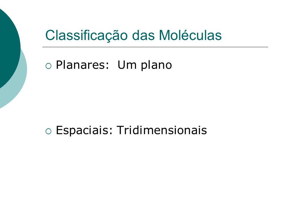 Classificação das Moléculas Planares: Um plano Espaciais: Tridimensionais