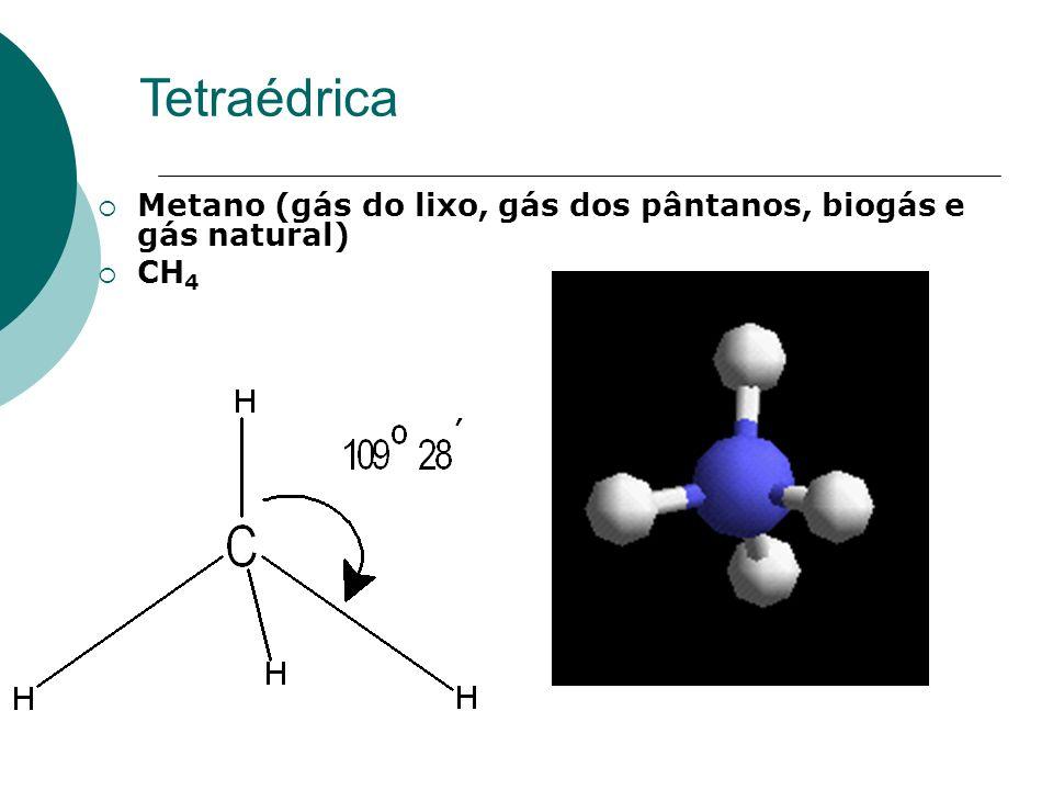 Tetraédrica Metano (gás do lixo, gás dos pântanos, biogás e gás natural) CH 4