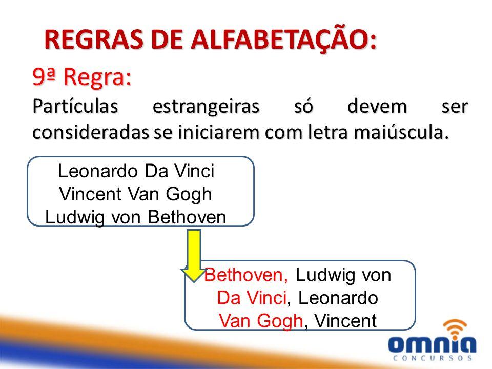 14 9ª Regra: Partículas estrangeiras só devem ser consideradas se iniciarem com letra maiúscula. REGRAS DE ALFABETAÇÃO: Leonardo Da Vinci Vincent Van