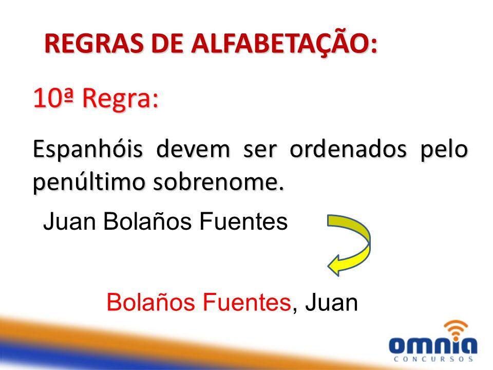 15 10ª Regra: Espanhóis devem ser ordenados pelo penúltimo sobrenome. REGRAS DE ALFABETAÇÃO: Juan Bolaños Fuentes Bolaños Fuentes, Juan arquiva-se