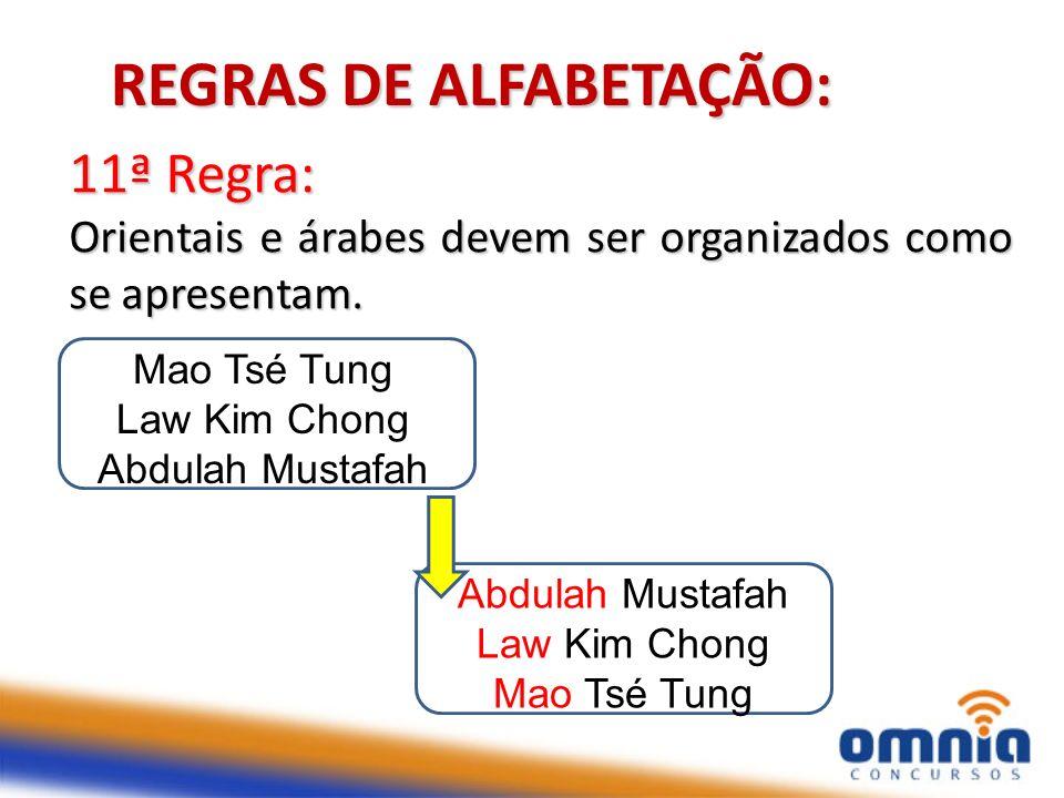 16 11ª Regra: Orientais e árabes devem ser organizados como se apresentam. REGRAS DE ALFABETAÇÃO: Mao Tsé Tung Law Kim Chong Abdulah Mustafah Law Kim