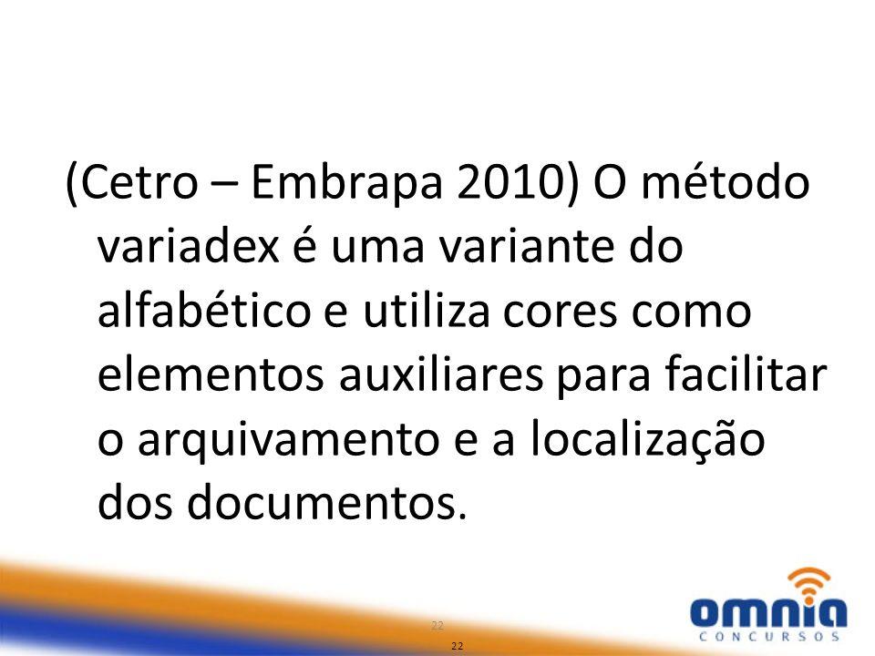 22 (Cetro – Embrapa 2010) O método variadex é uma variante do alfabético e utiliza cores como elementos auxiliares para facilitar o arquivamento e a l