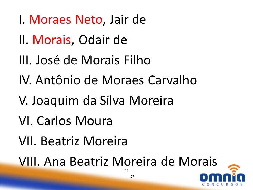 27 I. Moraes Neto, Jair de II. Morais, Odair de III. José de Morais Filho IV. Antônio de Moraes Carvalho V. Joaquim da Silva Moreira VI. Carlos Moura
