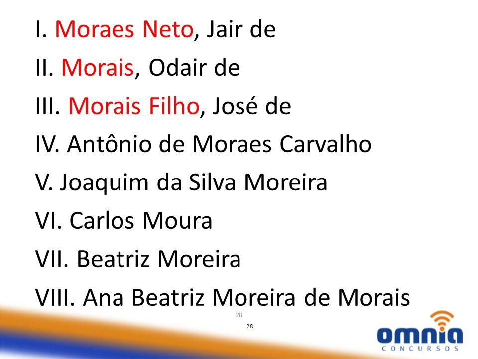 28 I. Moraes Neto, Jair de II. Morais, Odair de III. Morais Filho, José de IV. Antônio de Moraes Carvalho V. Joaquim da Silva Moreira VI. Carlos Moura