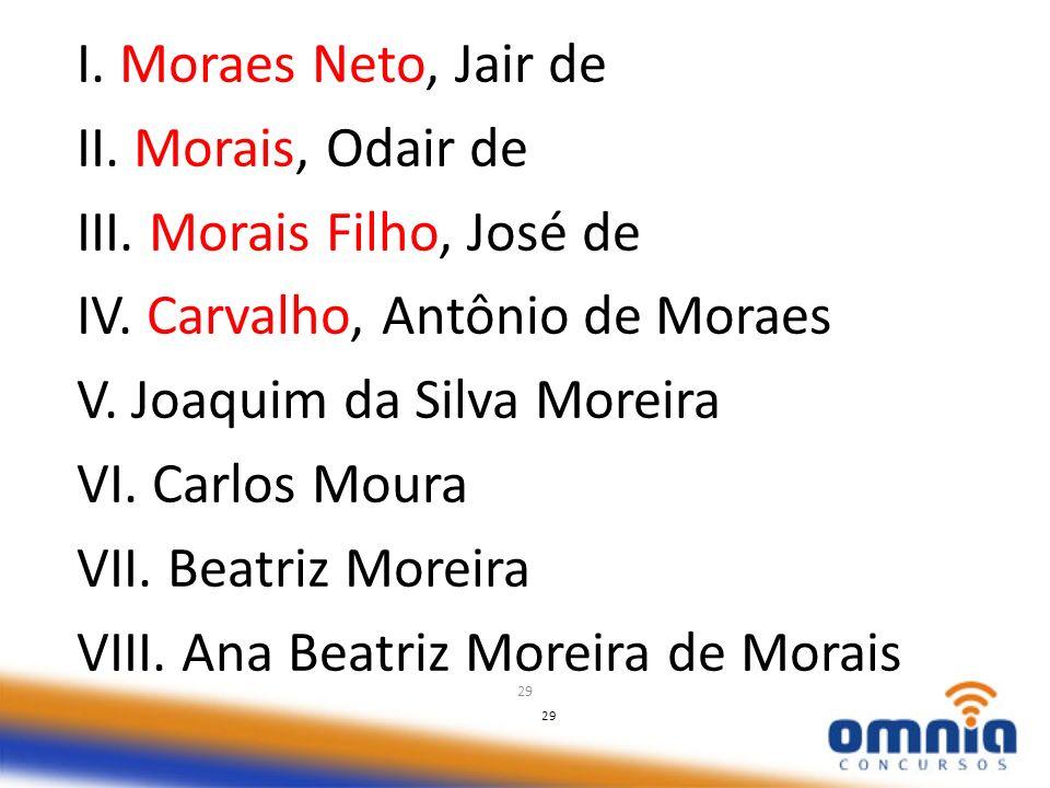 29 I. Moraes Neto, Jair de II. Morais, Odair de III. Morais Filho, José de IV. Carvalho, Antônio de Moraes V. Joaquim da Silva Moreira VI. Carlos Mour