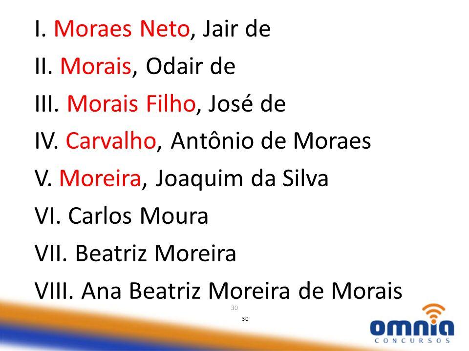 30 I. Moraes Neto, Jair de II. Morais, Odair de III. Morais Filho, José de IV. Carvalho, Antônio de Moraes V. Moreira, Joaquim da Silva VI. Carlos Mou
