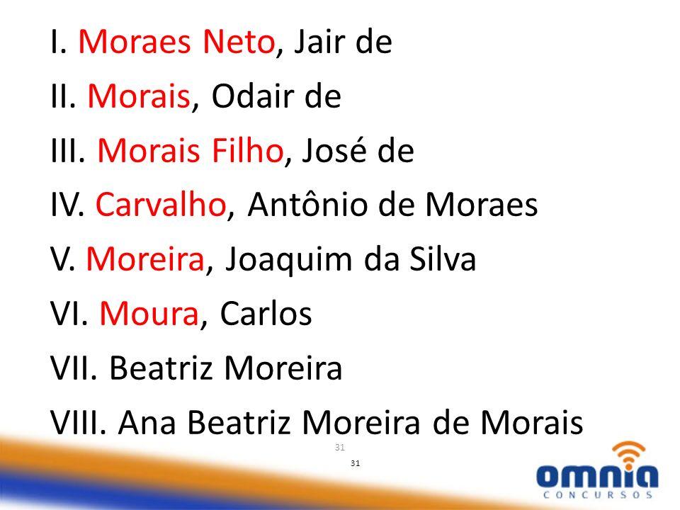 31 I. Moraes Neto, Jair de II. Morais, Odair de III. Morais Filho, José de IV. Carvalho, Antônio de Moraes V. Moreira, Joaquim da Silva VI. Moura, Car