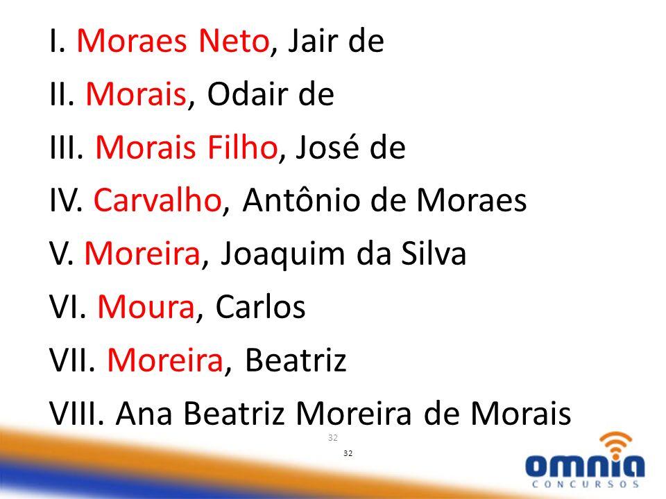 32 I. Moraes Neto, Jair de II. Morais, Odair de III. Morais Filho, José de IV. Carvalho, Antônio de Moraes V. Moreira, Joaquim da Silva VI. Moura, Car