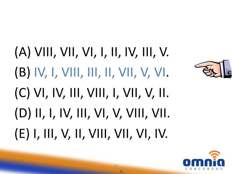 35 (A) VIII, VII, VI, I, II, IV, III, V. (B) IV, I, VIII, III, II, VII, V, VI. (C) VI, IV, III, VIII, I, VII, V, II. (D) II, I, IV, III, VI, V, VIII,