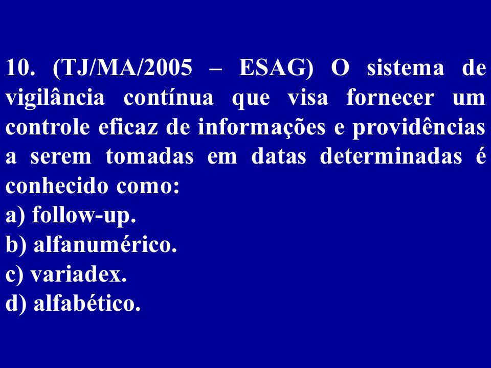 9.(TJ/MA/2005 – ESAG) São considerados acessórios de um arquivo: a) sistema alfanumérico.