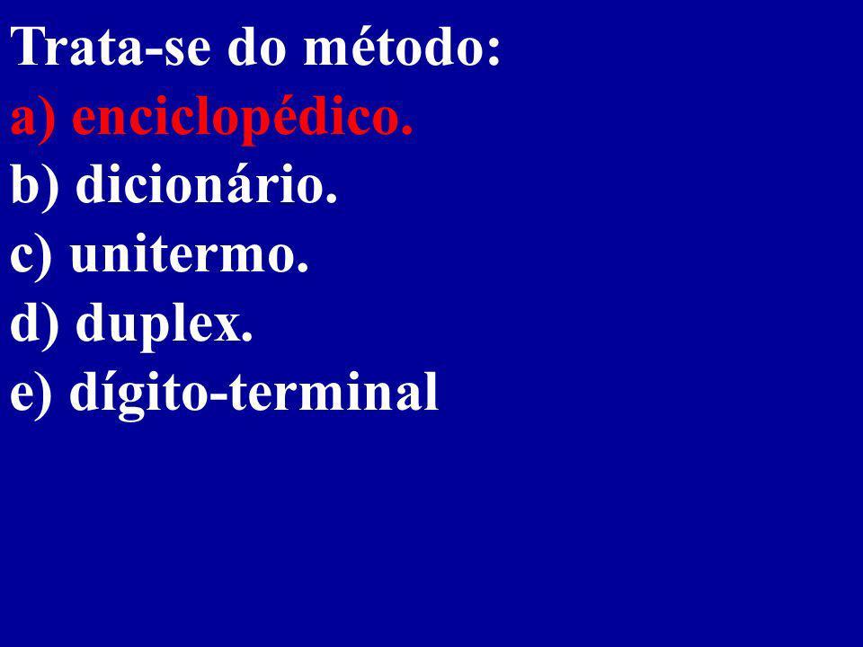 Trata-se do método: a) enciclopédico. b) dicionário. c) unitermo. d) duplex. e) dígito-terminal