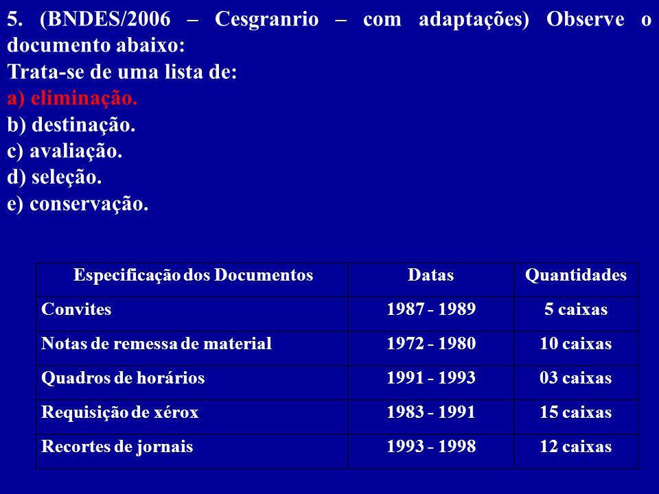 Especificação dos DocumentosDatasQuantidades Convites1987 - 19895 caixas Notas de remessa de material1972 - 198010 caixas Quadros de horários1991 - 199303 caixas Requisição de xérox1983 - 199115 caixas Recortes de jornais1993 - 199812 caixas 5.
