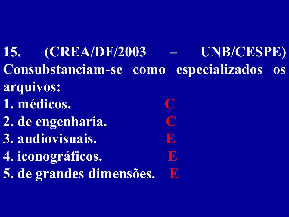 15.(CREA/DF/2003 – UNB/CESPE) Consubstanciam-se como especializados os arquivos: 1.