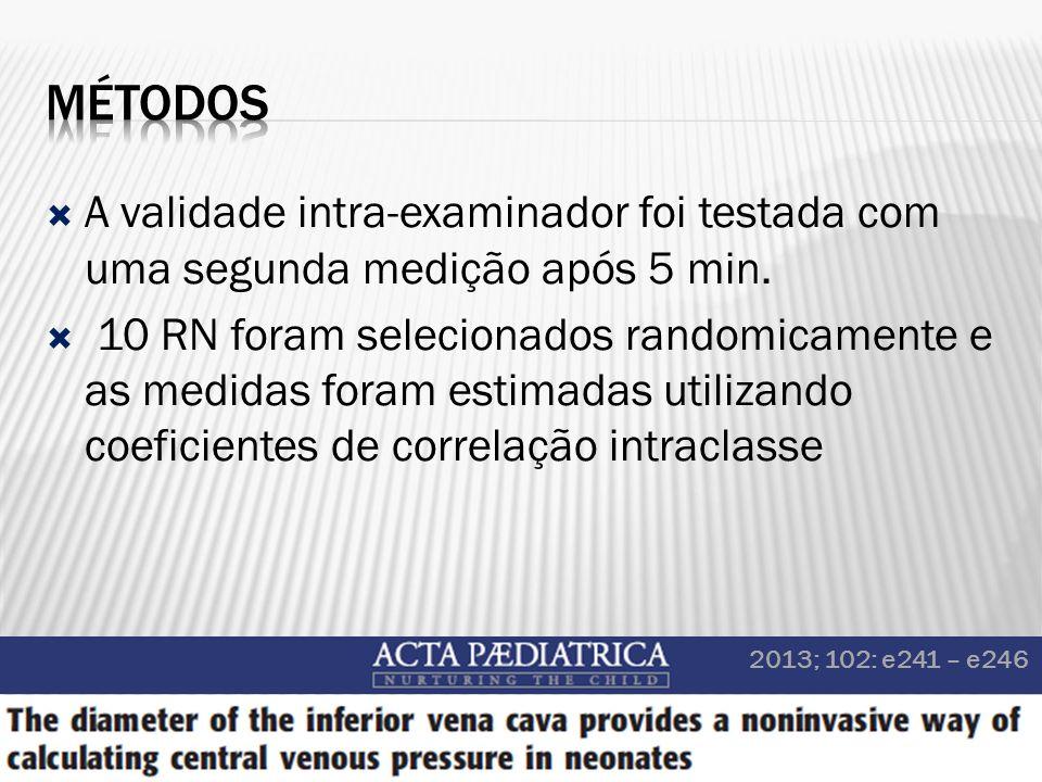 A validade intra-examinador foi testada com uma segunda medição após 5 min. 10 RN foram selecionados randomicamente e as medidas foram estimadas utili