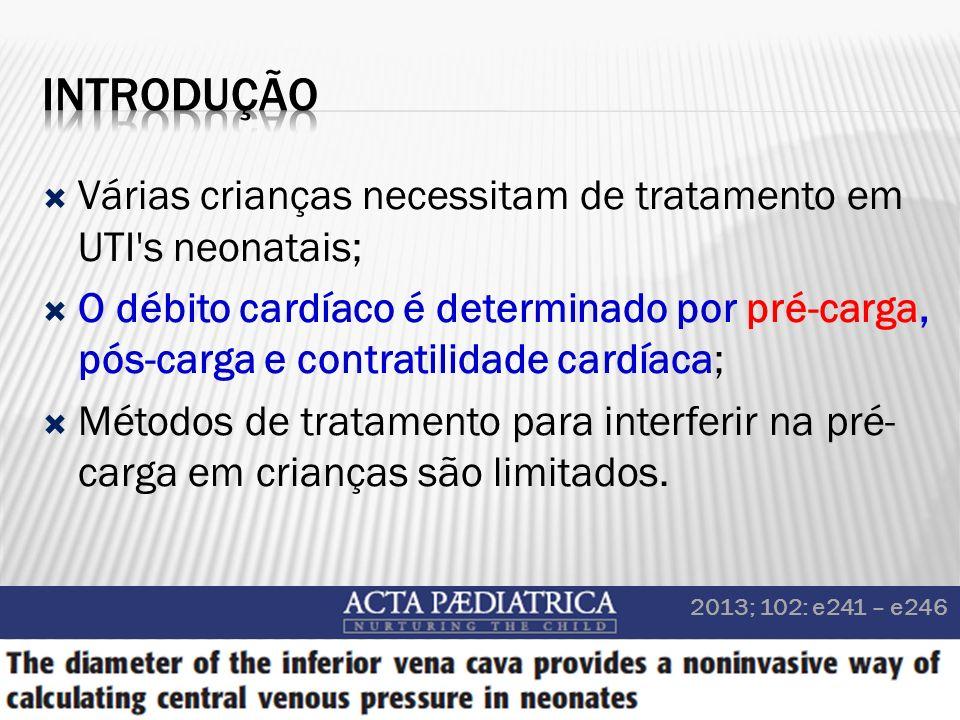 Várias crianças necessitam de tratamento em UTI's neonatais; O débito cardíaco é determinado por pré-carga, pós-carga e contratilidade cardíaca; Métod