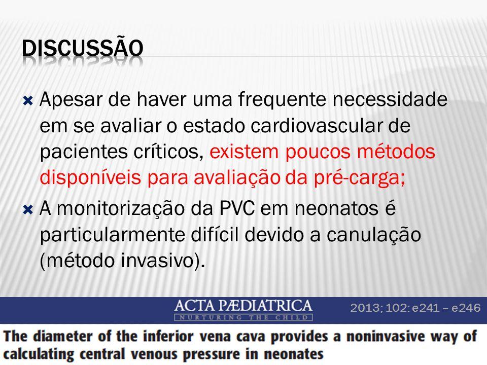 Apesar de haver uma frequente necessidade em se avaliar o estado cardiovascular de pacientes críticos, existem poucos métodos disponíveis para avaliaç