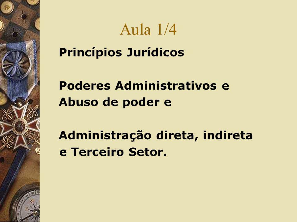 Aula 1/4 Princípios Jurídicos Poderes Administrativos e Abuso de poder e Administração direta, indireta e Terceiro Setor.