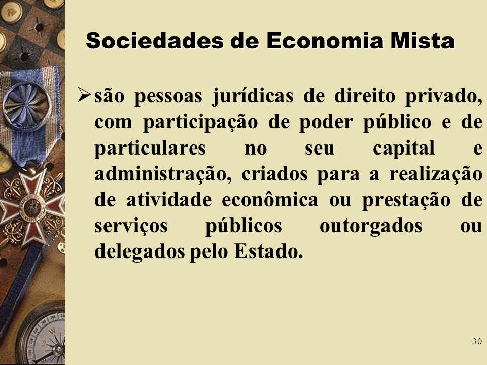 30 Sociedades de Economia Mista são pessoas jurídicas de direito privado, com participação de poder público e de particulares no seu capital e administração, criados para a realização de atividade econômica ou prestação de serviços públicos outorgados ou delegados pelo Estado.