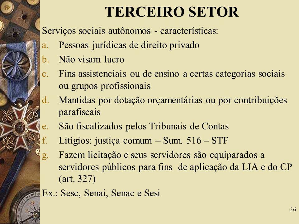 TERCEIRO SETOR Fazem parte do terceiro setor: 1.Serviços sociais autônomos 2.Fundações de apoio 3.Organizações sociais 4.Organizações da sociedade civ