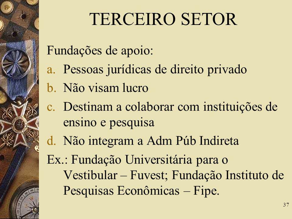 TERCEIRO SETOR Serviços sociais autônomos - características: a.Pessoas jurídicas de direito privado b.Não visam lucro c.Fins assistenciais ou de ensin