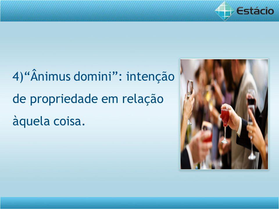 4)Ânimus domini: intenção de propriedade em relação àquela coisa.