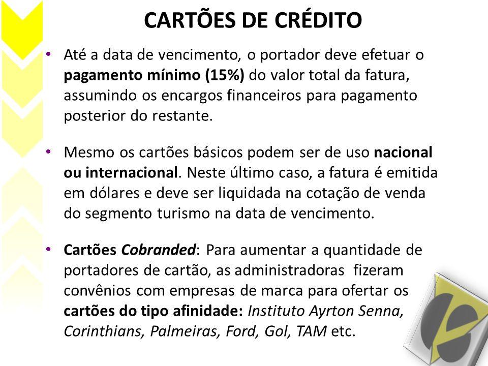 CARTÕES DE CRÉDITO Até a data de vencimento, o portador deve efetuar o pagamento mínimo (15%) do valor total da fatura, assumindo os encargos financei