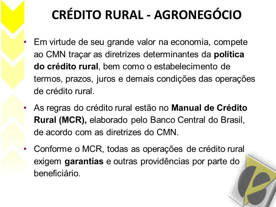 CRÉDITO RURAL - AGRONEGÓCIO Em virtude de seu grande valor na economia, compete ao CMN traçar as diretrizes determinantes da política do crédito rural