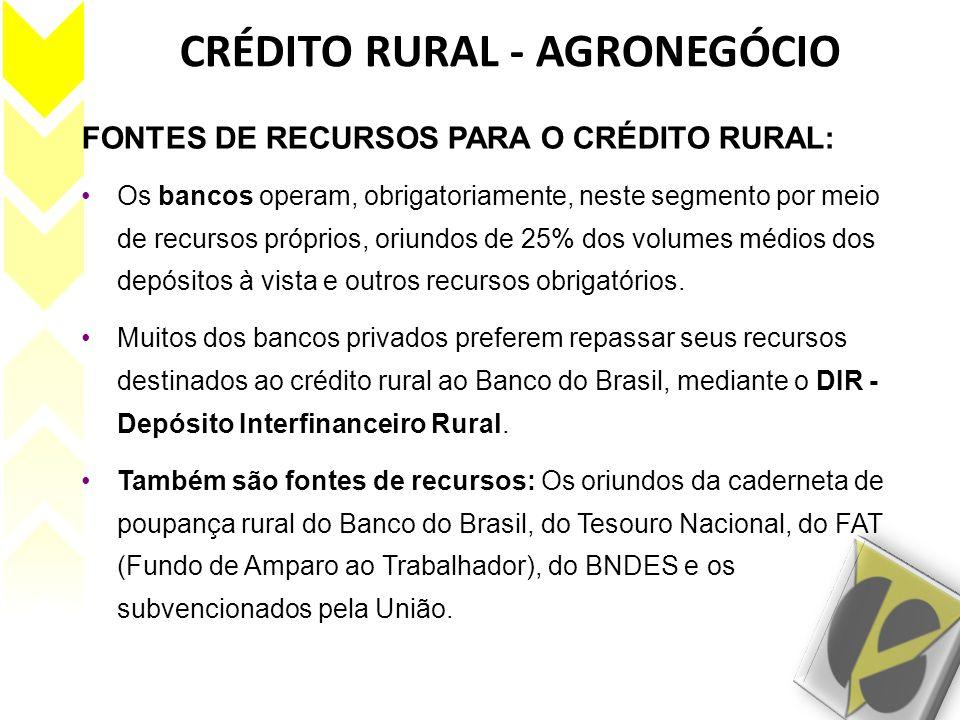 CRÉDITO RURAL - AGRONEGÓCIO FONTES DE RECURSOS PARA O CRÉDITO RURAL: Os bancos operam, obrigatoriamente, neste segmento por meio de recursos próprios,