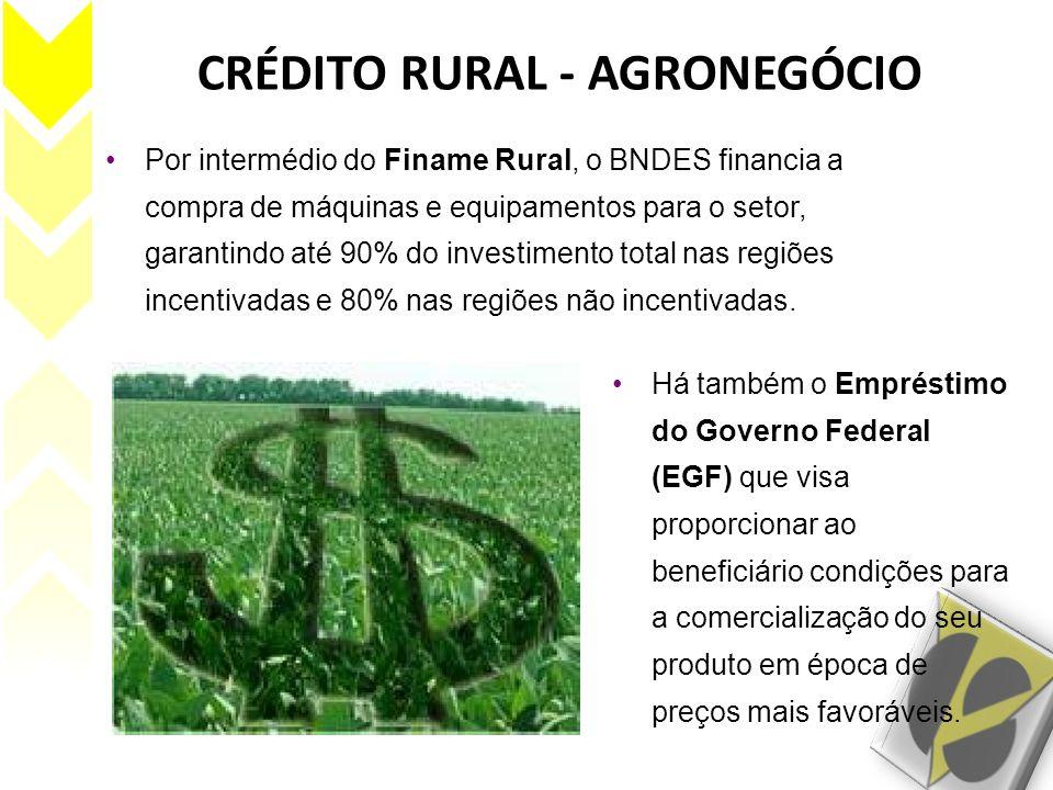 CRÉDITO RURAL - AGRONEGÓCIO Por intermédio do Finame Rural, o BNDES financia a compra de máquinas e equipamentos para o setor, garantindo até 90% do i