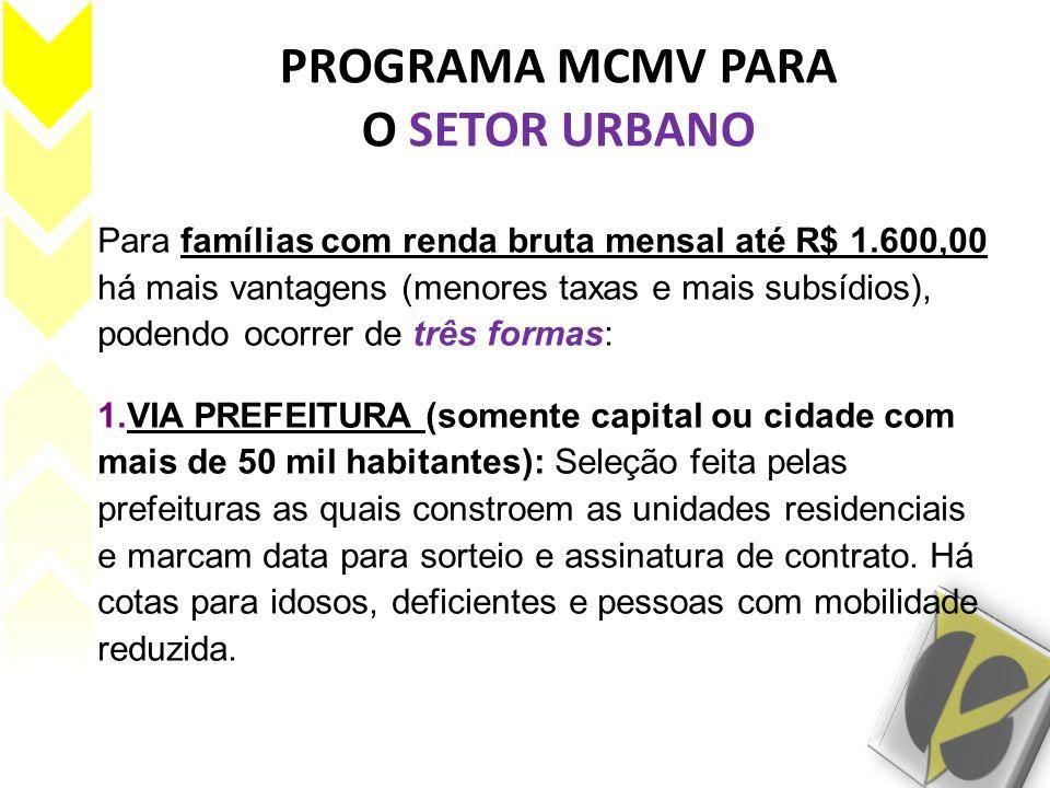 PROGRAMA MCMV PARA O SETOR URBANO Para famílias com renda bruta mensal até R$ 1.600,00 há mais vantagens (menores taxas e mais subsídios), podendo oco