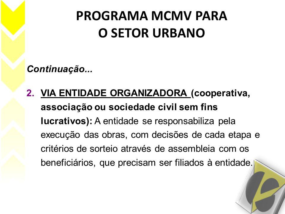 PROGRAMA MCMV PARA O SETOR URBANO Continuação... 2.VIA ENTIDADE ORGANIZADORA (cooperativa, associação ou sociedade civil sem fins lucrativos): A entid