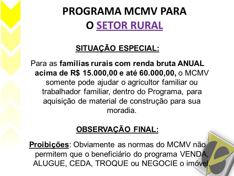 PROGRAMA MCMV PARA O SETOR RURAL SITUAÇÃO ESPECIAL: Para as famílias rurais com renda bruta ANUAL acima de R$ 15.000,00 e até 60.000,00, o MCMV soment