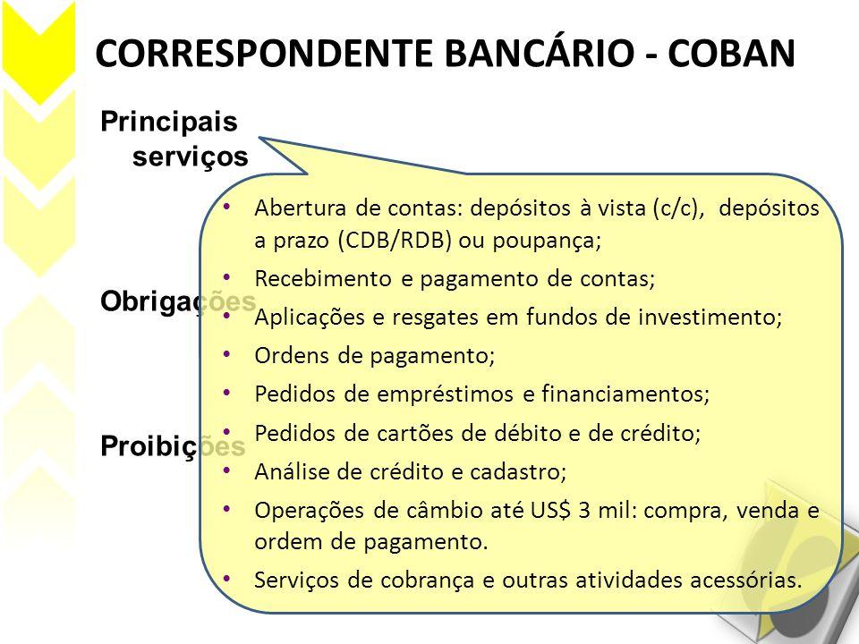 CORRESPONDENTE BANCÁRIO - COBAN Principais serviços Obrigações Proibições Abertura de contas: depósitos à vista (c/c), depósitos a prazo (CDB/RDB) ou