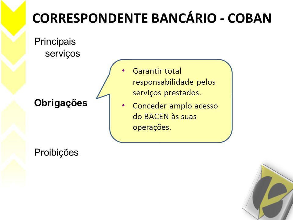CORRESPONDENTE BANCÁRIO - COBAN Principais serviços Obrigações Proibições Efetuar adiantamentos de recursos a serem liberados pelo banco/IE.