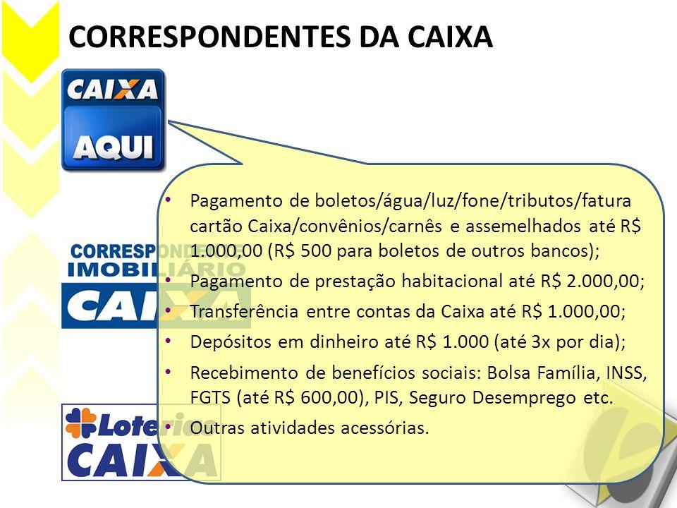 CORRESPONDENTES DA CAIXA Pagamento de boletos/água/luz/fone/tributos/fatura cartão Caixa/convênios/carnês e assemelhados até R$ 1.000,00 (R$ 500 para