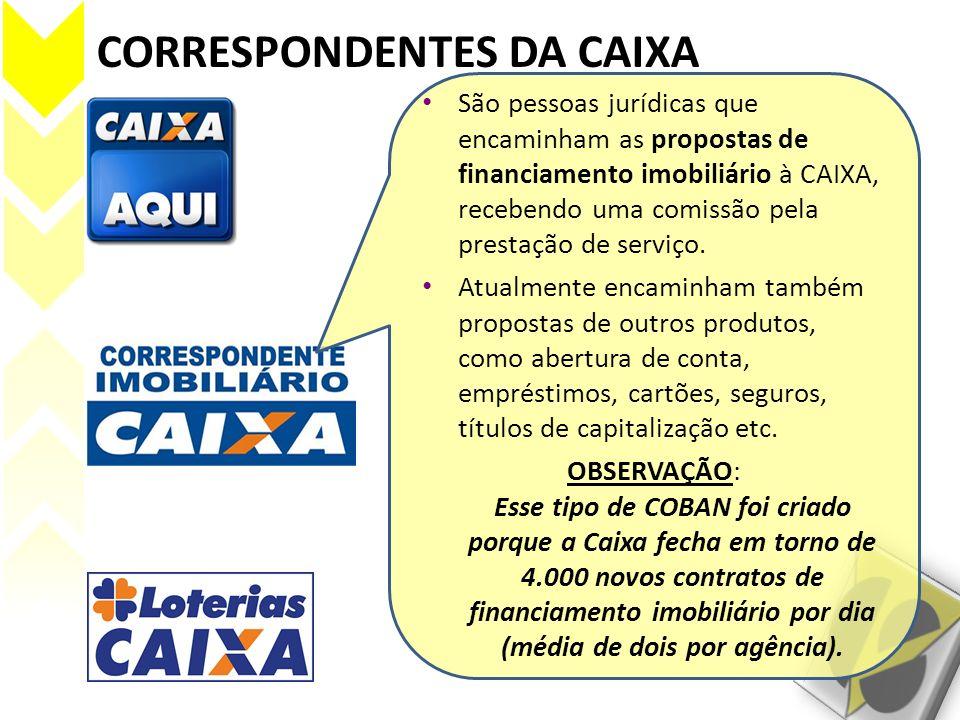 CORRESPONDENTES DA CAIXA São pessoas jurídicas que encaminham as propostas de financiamento imobiliário à CAIXA, recebendo uma comissão pela prestação
