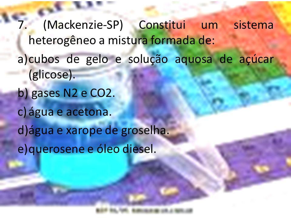 7. (Mackenzie-SP) Constitui um sistema heterogêneo a mistura formada de: a)cubos de gelo e solução aquosa de açúcar (glicose). b) gases N2 e CO2. c)ág