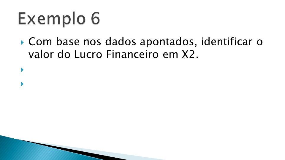 Com base nos dados apontados, identificar o valor do Lucro Financeiro em X2.